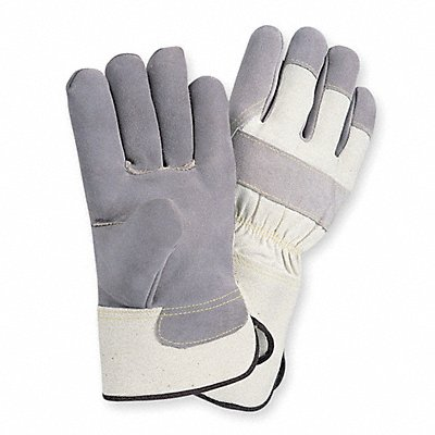 Cowhide Leather Work Gloves Safety Cuff Gray Size L Left and Right Hand