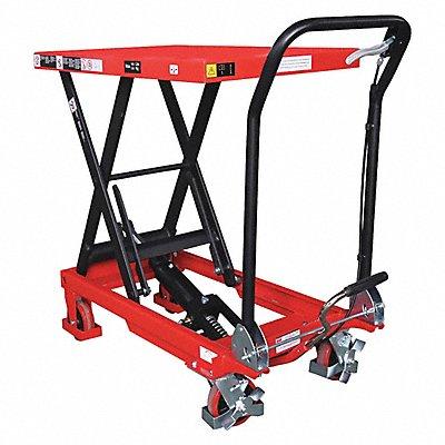 Mobile Manual Lift Manual Push Scissor Lift Table 660 lb Load Capacity Lifting Height Max 35