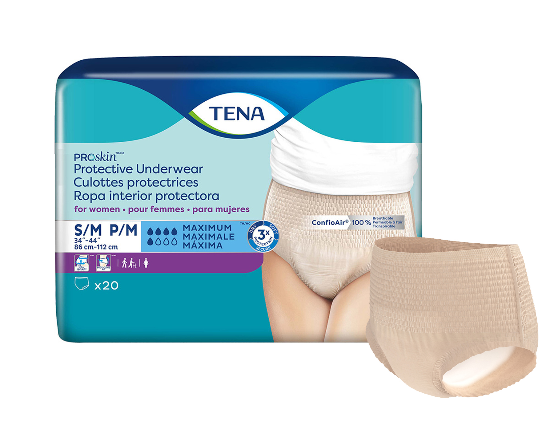TENA ProSkin Protective Incontinence Underwear for Women, Maximum Absorbency