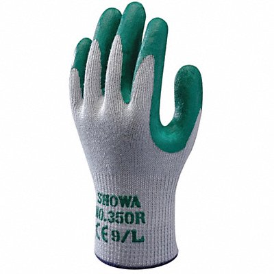 10 Gauge Crinkled Nitrile Coated Gloves Glove Size M Gray/Green