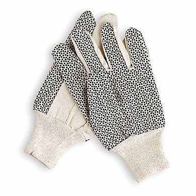 Canvas Gloves Cotton/Polyester Material Knit Wrist Cuff White Glove Size S