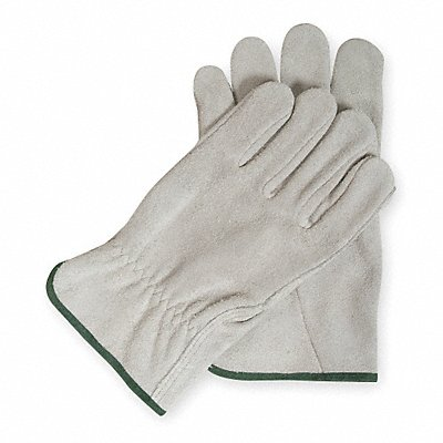 Cowhide Drivers Gloves Shirred Wrist Cuff Gray Size XL Left and Right Hand