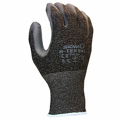 Polyurethane Cut Resistant Gloves ANSI/ISEA Cut Level 4 HPPE Stainless Steel Lining Black Gray