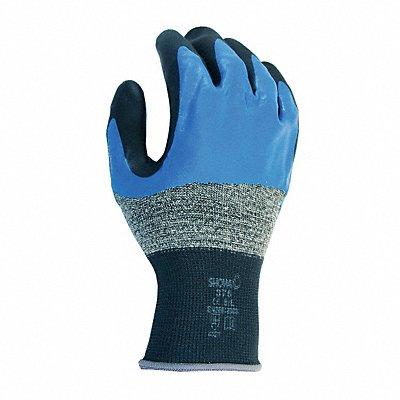13 Gauge Smooth Nitrile Coated Gloves Glove Size L Black/Blue/Gray