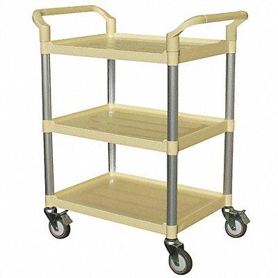 Polypropylene Raised Handle Utility Cart 250 lb Load Capacity Number of Shelves 3