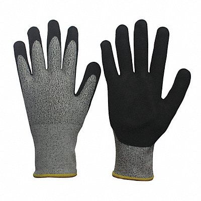 Nitrile Cut Resistant Gloves ANSI/ISEA Cut Level 3 HPPE Spandex? Lining Black Gray M PR 1