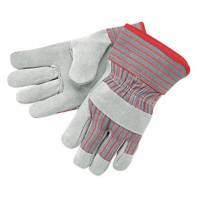 Cowhide Leather Work Gloves Safety Cuff Gray Palm Gray and Red Stripped Back Size L Left and R