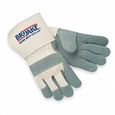 Cowhide Leather Work Gloves Safety Cuff Gray Palm Natural Back Size L Left and Right Hand