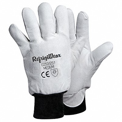 Cold Protection Gloves Fleece Lining Knit Wrist Cuff Gray L PR 1
