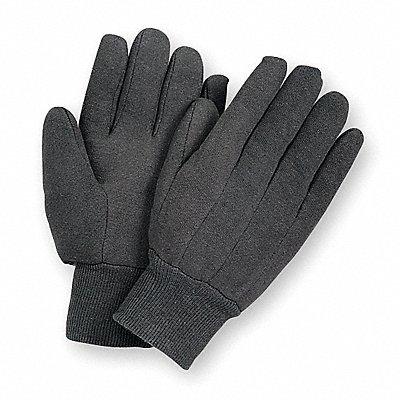 Jersey Gloves Cotton Material Knit Wrist Cuff Brown Glove Size L