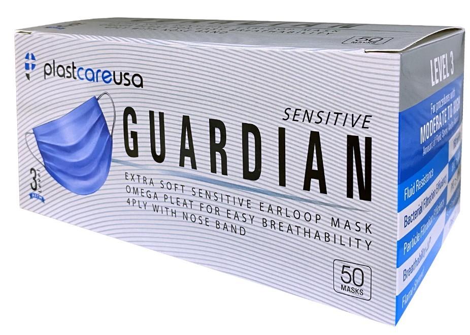 ASTM Level 3, 4 Ply Disposable Face Masks, Blue, 50 Masks per Box