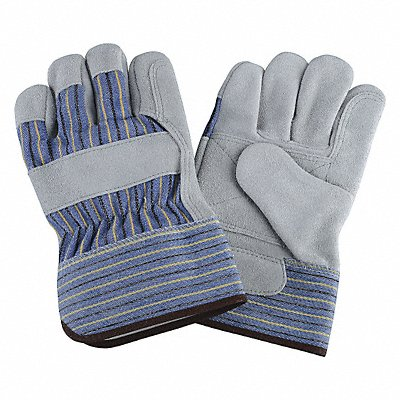 Cowhide Leather Work Gloves Safety Cuff Blue/Gray/Green Size L Left and Right Hand