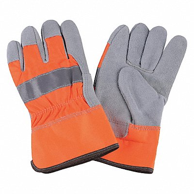 Cowhide Leather Work Gloves Safety Cuff High Visibility Orange Size XL Left and Right Hand