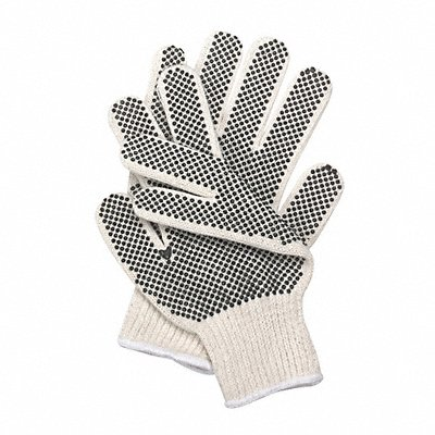 Knit Gloves Polyester/Cotton/PVC Material Knit Wrist Cuff White Glove Size L