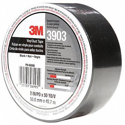 Light-Duty Duct Tape 2 X 50 yd. 6.50 mil Thick Black Vinyl 1 EA